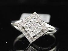 Diamond Square Cocktail Fashion Ring 10K White Gold Round Cut 0.24 Ct