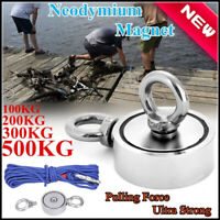 500kg// 1100lb 120mm Super Strong Neodymium Recovery Fishing Magnet Pull Eyebolt