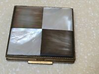 "Shields Signed Vintage Mirrored Powder Compact Mother of Pearl Top 2"" Sq USA"
