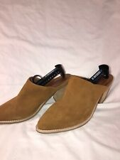 Anthropologie Jeffrey Campbell Favela Suede Mules Size 9.5 Tan Suede EUC
