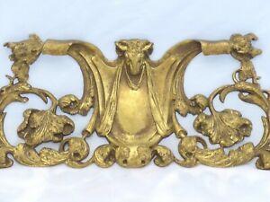 "15"" HUGE French Gilded Bronze RAM Louis XV Pediment Hardware Furniture Salvage"