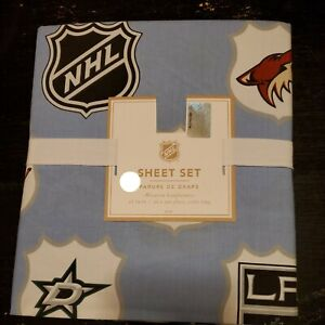 Pottery Barn Sheet Set PB Teen NHL Western Conference Blue Twin XL HOCKEY