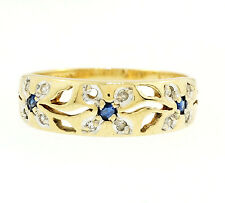 9Ct Yellow Gold Sapphire & Diamond Triple Daisy Cluster Band (Size P) 6mm Wide