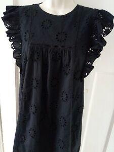 Zara Broderie Anglaise Black Dress Size XS