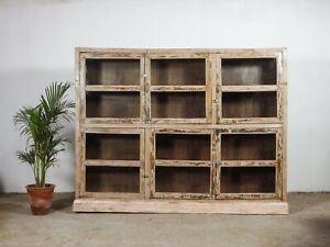 Large Vintage Bookcase Shop Display Cabinet Cupboard Kitchen Dresser MILL-1099