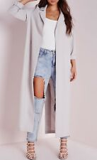 NWT Missguided Long Sleeve Maxi Duster Light Coat Grey Size 4