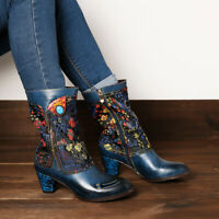 SOCOFY Women Retro Flower Branch Pattern Shoes Stitching Leather Mid Calf Boots