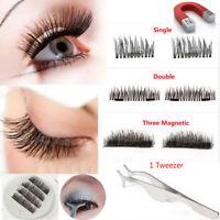 4Pcs Magnetic Eyelashes 3D Handmade Reusable False No-glue Magnet Eye Lashes AAA