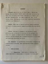 Van Halen ORIGINAL 1984 Aust. Record Publishing Contract Signed David Lee Roth