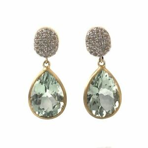 Pave White Topaz and Pear Green Amethyst Drop Earrings