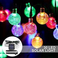 30 LED Solar Ball String Light Outdoor Garden Party Fairy Decor Lamp Waterproof