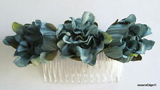 Triple Teal Blue Dahlia Bud Poly Silk Flower Hair Comb,Pin Up,Updo,Rockabilly
