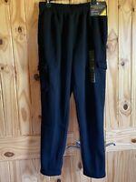 Men's Ultimate Fleece Cargo Pant Black Size Medium 5 Pockets Soft Brushed Fleece