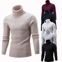 Men Winter Warm Sweater Slim Fit Knitted High Neck Pullover Jumper Turtleneck US