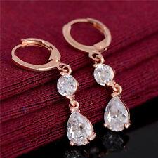 Popular Bright Cubic Zirconia 18K Rose Gold Plated Dangle Drop Hoop Earrings New