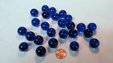 """25 BLUE Round Clear Glass 3/4"""" MARBLES Crafts Games Art Floral Bridal Projects"""