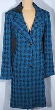 NWT ST. JOHN Knits Baltic Blue Houndstooth Jacket Blazer Skirt Suit sz 12 $2490