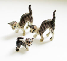 Vintage Miniature Bone China Cat Family Figurines