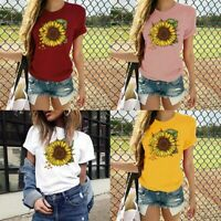 Print Graphic T-Shirt Women's O-Neck Short Sleeve Blouse Sunflower Casual Tops