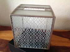 Vintage Frosted Glass & Leaded Metal Tissue Box Holder Cover 6 x 5 1/2 x 5 1/2