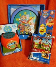 """Nickelodeon Paw Patrol & Wall Clock 9.75"""" and Projection Alarm Clock"""