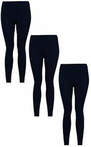 Girls Leggings (Pack of 3) Black Kids 95% Cotton Plain Solid Stretchy Schoolwear