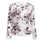 Chic Round Collar Long Sleeve Flower Print Zipper Type Women Coat