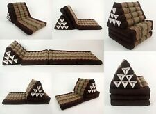 Large Thai Triangle Pillow Day Bed 3 Fold out mattress Brown SF10