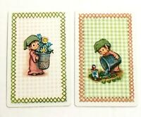 Hallmark Little Folk / Elves - Pair of Swap Playing Cards - Vintage Illustrated