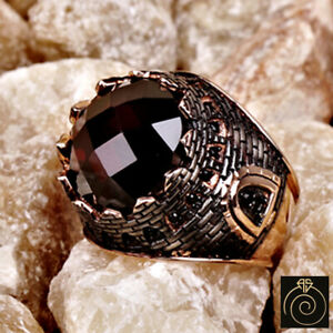 Fortress Men Historical Ruby Ring Conquest Istanbul Design Authentic Jewelry NEW