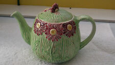 HOLLINSHEAD & KIRKHAM  [H&K] 1933 - 42 TEAPOT RED FLOWERS AND GREEN ?BULLRUSHES