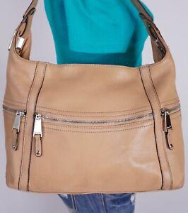 TIGNANELLO Large Beige  Leather Shoulder Hobo Tote Satchel Purse Bag