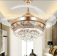 Rose Gold Ceiling Fan Lights Telescopic Chandeliers Lighting Pendant Fixtures
