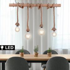 LED Vintage Decken Pendel Lampe Holzbalken Seil Design Esstisch Hänge Leuchte