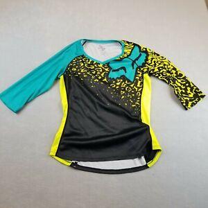 Fox Racing Shirt Womens Medium Multi-Color Long Sleeve Stretch Jersey 3/4 Sleeve