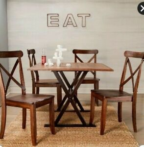 New Solid Wood Espresso & Brown Dining Table Drop Leaves Versatile Trestle Based