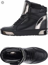 NIB Size 9.5 Michael Kors Pia Black Leather High Top Fashion Sneakers $195