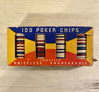 Vintage Box Embossed Noiseless Unbreakable Poker Chips 100 Ct Original Box