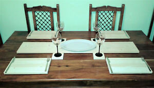🇬🇧 PAIR OF PLACEMATS - NATURAL SOLID WOOD 🍽️ - 🇬🇧 MADE IN ENGLAND