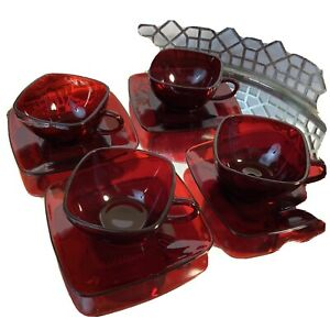 Anchor Hocking Charm Square Cups & Saucers Ruby Red Vintage MCM #N9