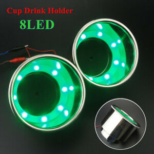 2PCS 8LED's Green Stainless Steel Cup Drink Holder for Marine Boat Car Vehicles