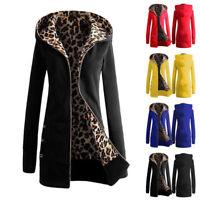 UK Women Zip Leopard Print Outwear Hooded Hoodie Ladies Winter Long Jackets Coat