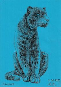 original drawing A4 56PK art samovar oil pastel etude animal panther Signed 2021