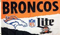 Denver Broncos NFL Miller Lite Flag 3x5 ft Sport Advertisement Banner Man-Cave