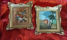 Set Two Vintage Original Oil Paintings Tara Productions Gilded Frames - Italy