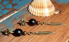 Handmade Boho Ethnic Hippie Dangle Drop Black Beads Bronze Feather Earrings