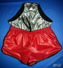 Mens Shiny Nylon Shorts M RED Wetlook Sprinter Shorts Metallic Lycra Inner Slip