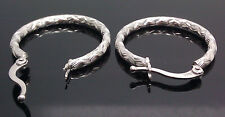 Real 10K White Gold Diamond Cuts Texture Hinged Locks Hoops Earring Men's/Womens