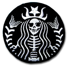 Skull Mermaid Dead Barista Patch Iron on Biker Badge Racing Tattoo Sticker Sew