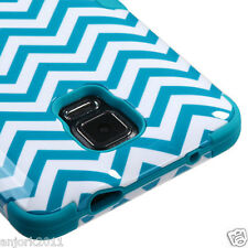Samsung Galaxy Note 4 Hybrid T Armor Defender Case Skin Cover Blue Wave
